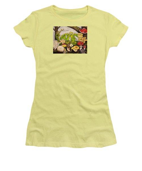 A Mushroom Story Women's T-Shirt (Junior Cut) by Alexandria Weaselwise Busen
