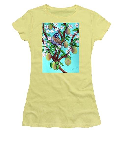A Partridge In A  Blooming Pear Tree Women's T-Shirt (Junior Cut) by Ecinja Art Works