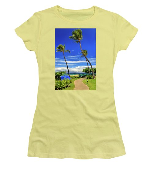 Women's T-Shirt (Junior Cut) featuring the photograph A Path In Kaanapali by James Eddy