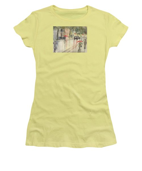 A Rainy Streetscene  Women's T-Shirt (Junior Cut) by Lucia Grilletto
