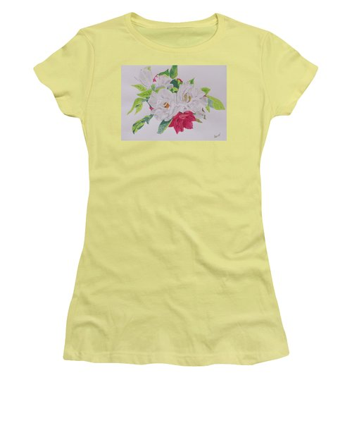 Women's T-Shirt (Junior Cut) featuring the painting A Rose Bouquet by Hilda and Jose Garrancho