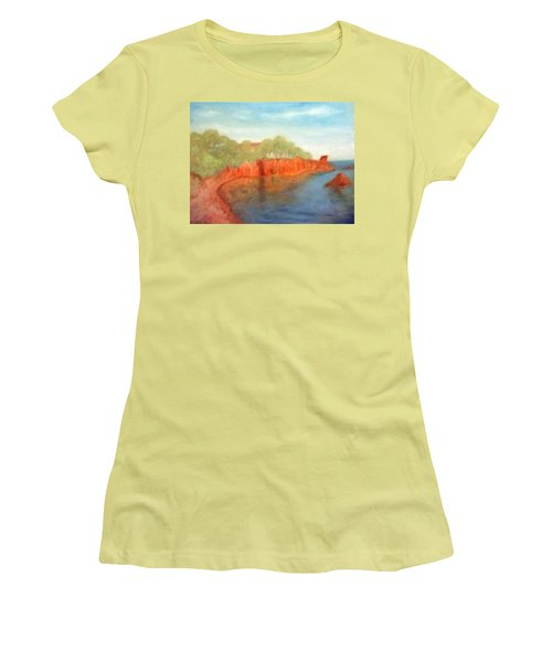 A Small Inlet Bay With Red Orange Rocks Women's T-Shirt (Athletic Fit)
