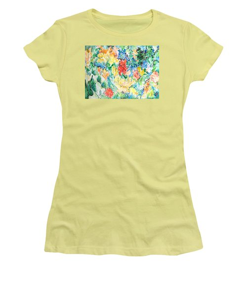 A Summer Garden Frolic Women's T-Shirt (Junior Cut) by Esther Newman-Cohen