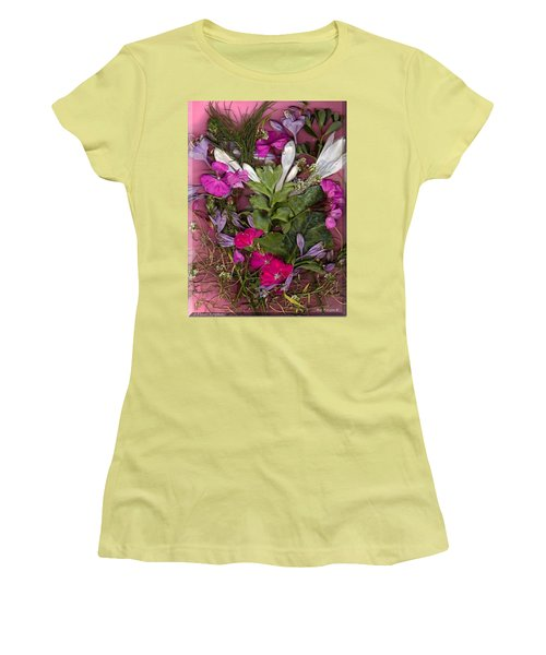 Women's T-Shirt (Junior Cut) featuring the digital art A Symphony Of Flowers by Ray Tapajna