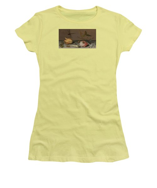 A Tulip, A Carnation, Spray Of Forget-me-nots, With A Shell, A Lizard And A Grasshopper, On A Ledge Women's T-Shirt (Athletic Fit)