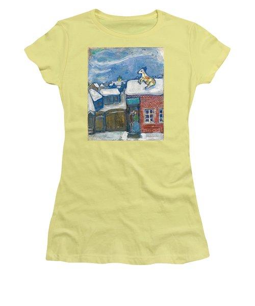 A Village In Winter Women's T-Shirt (Junior Cut) by Marc Chagall