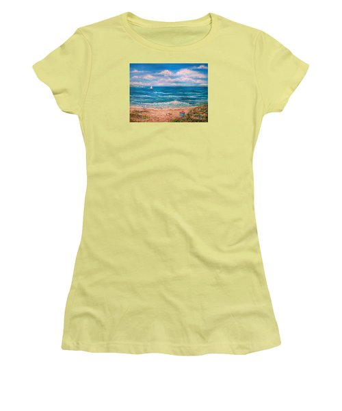Women's T-Shirt (Junior Cut) featuring the painting A Walk In The Sand by Dee Davis