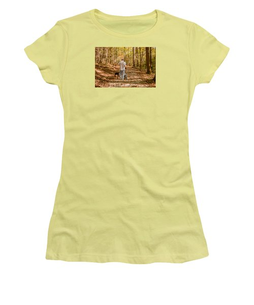 A Walk In The Woods Women's T-Shirt (Junior Cut) by Cathy Donohoue