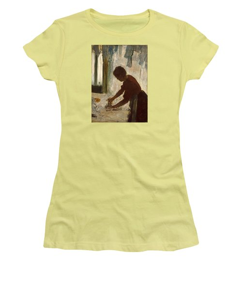 Women's T-Shirt (Junior Cut) featuring the painting A Woman Ironing by Edgar Degas
