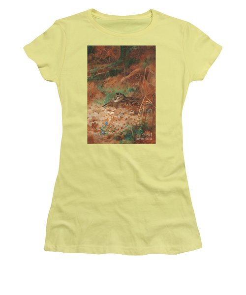 A Woodcock And Chick In Undergrowth Women's T-Shirt (Junior Cut)