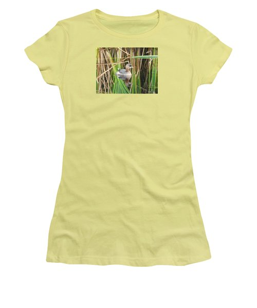 A Young Pied-billed Grebe And Its Reflection Women's T-Shirt (Junior Cut) by Janice Adomeit
