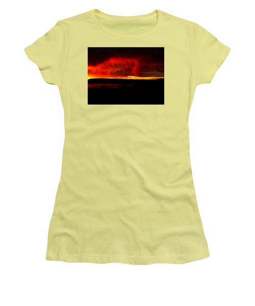 Women's T-Shirt (Junior Cut) featuring the painting Abiquiu Reservoir  by Dennis Ciscel