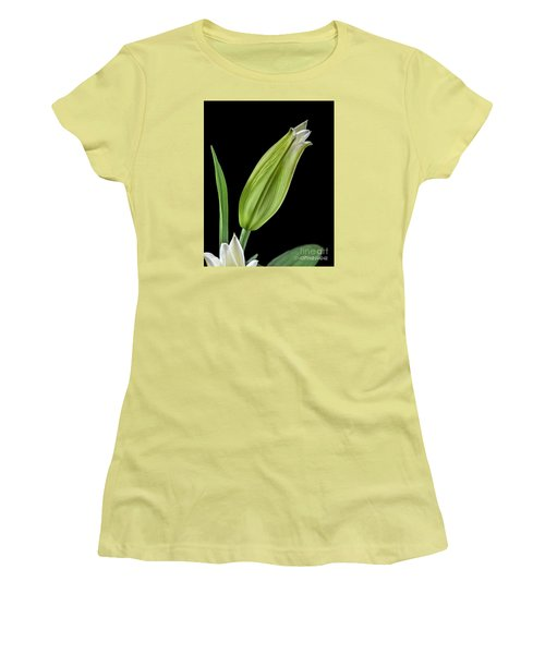 White Oriental Lily About To Bloom Women's T-Shirt (Junior Cut) by David Perry Lawrence
