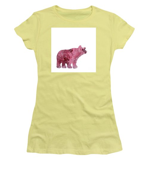 Abstract Acrylic Painting Bear Women's T-Shirt (Junior Cut) by Saribelle Rodriguez