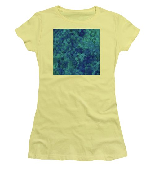 Women's T-Shirt (Athletic Fit) featuring the mixed media Abstract Blues 1 by Clare Bambers