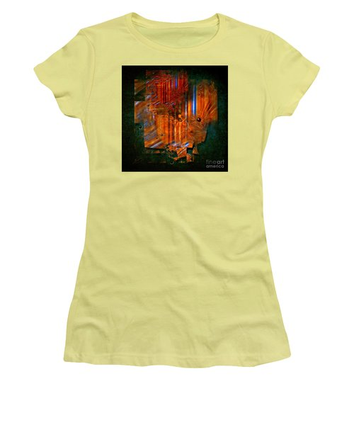 Women's T-Shirt (Junior Cut) featuring the painting Abstract Fields by Alexa Szlavics