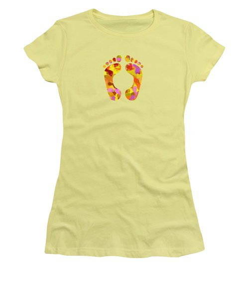 Abstract Footprints On Canvas Women's T-Shirt (Athletic Fit)