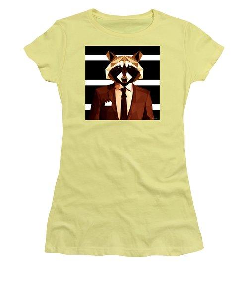 Abstract Geometric Raccoon Women's T-Shirt (Junior Cut) by Gallini Design