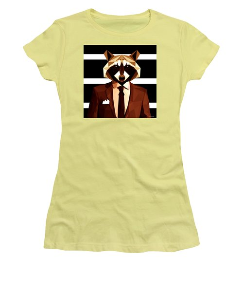Abstract Geometric Raccoon Women's T-Shirt (Athletic Fit)