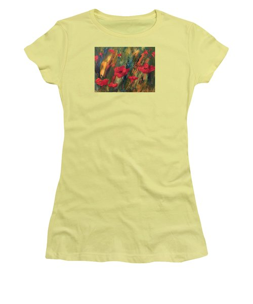 Abstract Poppies Women's T-Shirt (Junior Cut) by Kristine Bogdanovich