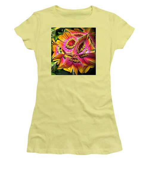 Abstract Yellow Flame Zinnia Women's T-Shirt (Athletic Fit)