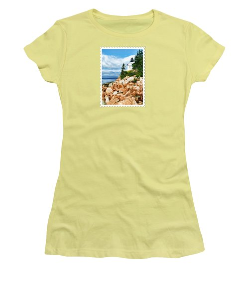Acadia Bass Harbor Head Lighthouse On Mt Desert Island Maine Women's T-Shirt (Athletic Fit)