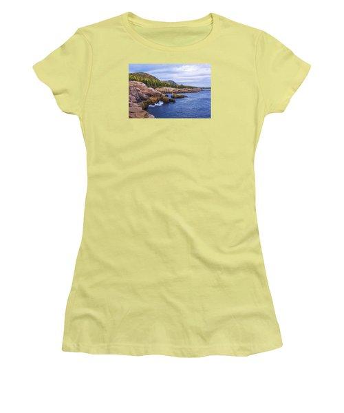 Women's T-Shirt (Junior Cut) featuring the photograph Acadia's Coast by Chad Dutson