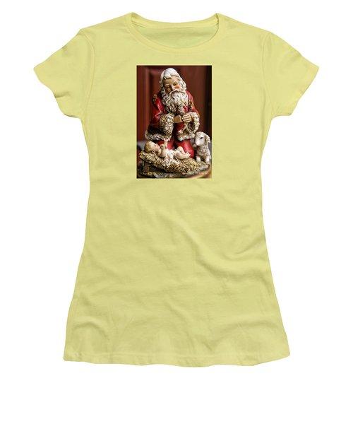Adoring Santa Women's T-Shirt (Junior Cut) by Bonnie Barry