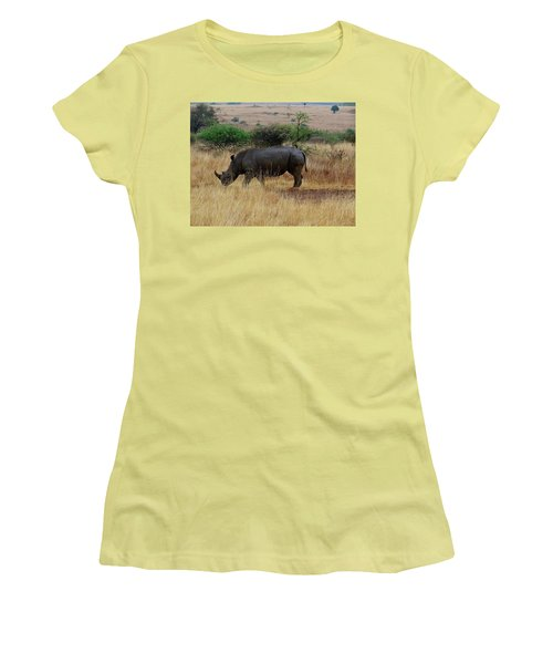 African Animals On Safari - One Very Rare White Rhinoceros Right Angle With Background Women's T-Shirt (Athletic Fit)