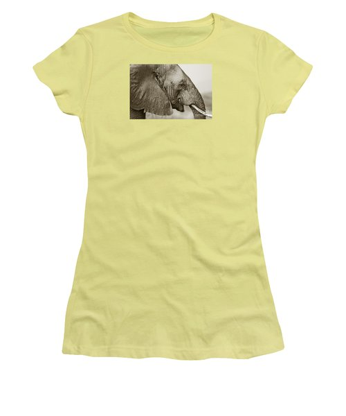 African Elephant Profile  Duotoned Women's T-Shirt (Junior Cut) by Liz Leyden