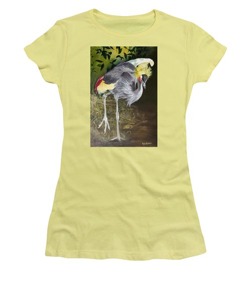 African Grey-crowned Crane Women's T-Shirt (Junior Cut) by Phyllis Beiser
