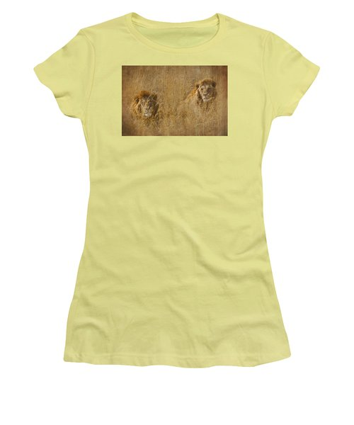 Women's T-Shirt (Junior Cut) featuring the tapestry - textile African Lion Brothers by Kathy Adams Clark