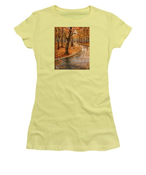 After Rain,walk In The Central Park Women's T-Shirt (Junior Cut) by Vali Irina Ciobanu