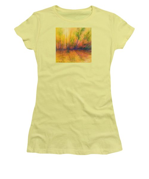 Women's T-Shirt (Junior Cut) featuring the painting Afternoon Glow  by Alison Caltrider
