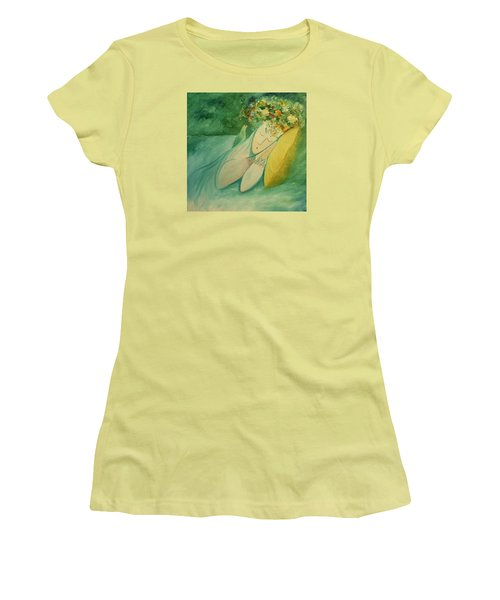 Women's T-Shirt (Junior Cut) featuring the painting Afternoon Nap In The Garden by Tone Aanderaa