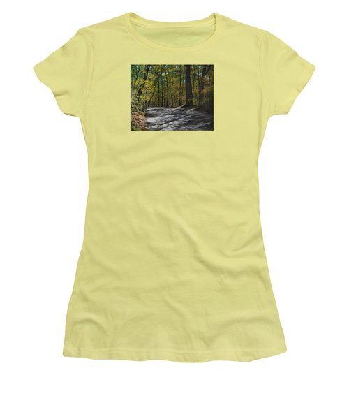 Women's T-Shirt (Junior Cut) featuring the painting Afternoon Shadows - Oconne State Park by Kathleen McDermott