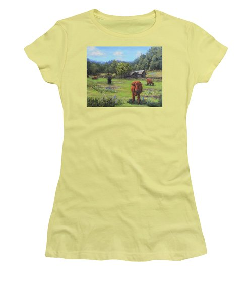 Women's T-Shirt (Junior Cut) featuring the painting Afternoon Snack by Karen Ilari