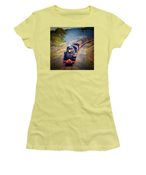 Women's T-Shirt (Athletic Fit) featuring the photograph Age Of Steam by Wallaroo Images