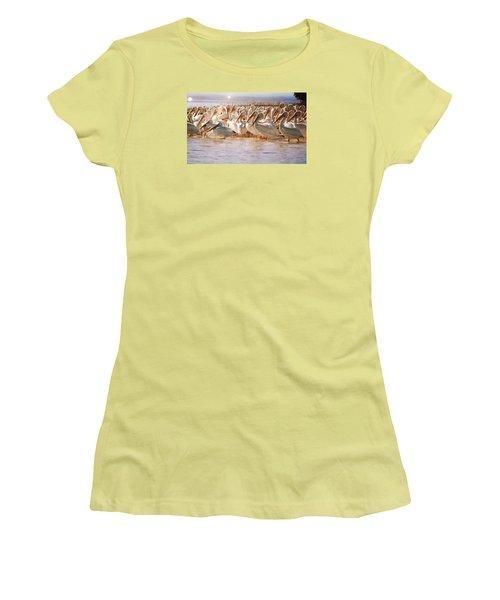 Aglow White Pelicans Women's T-Shirt (Athletic Fit)
