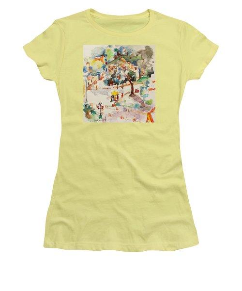 Alamo From Hotel Window Women's T-Shirt (Junior Cut) by Becky Kim