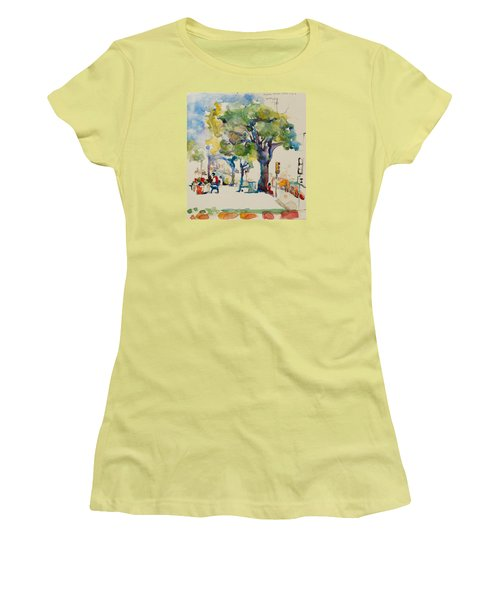 Women's T-Shirt (Junior Cut) featuring the painting Alamo Plaza by Becky Kim