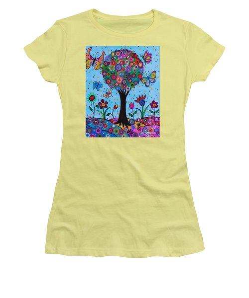 Women's T-Shirt (Athletic Fit) featuring the painting Albero Della Vita by Pristine Cartera Turkus