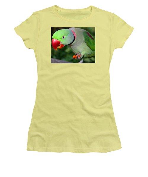 Alexandrine Parrot Feeding Women's T-Shirt (Junior Cut) by Ralph A  Ledergerber-Photography