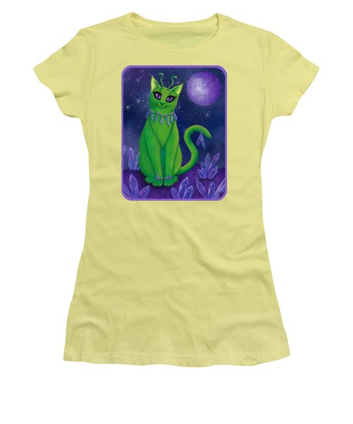 Women's T-Shirt (Athletic Fit) featuring the painting Alien Cat by Carrie Hawks