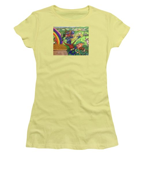 Women's T-Shirt (Junior Cut) featuring the painting Alien Go Bragh by Similar Alien