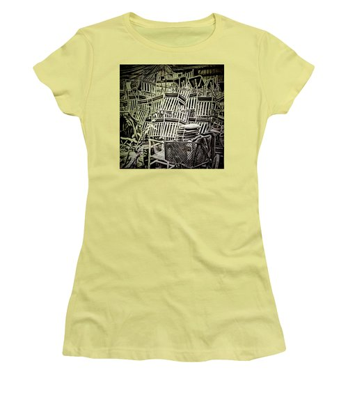 Women's T-Shirt (Athletic Fit) featuring the photograph All Piled Up by Lewis Mann