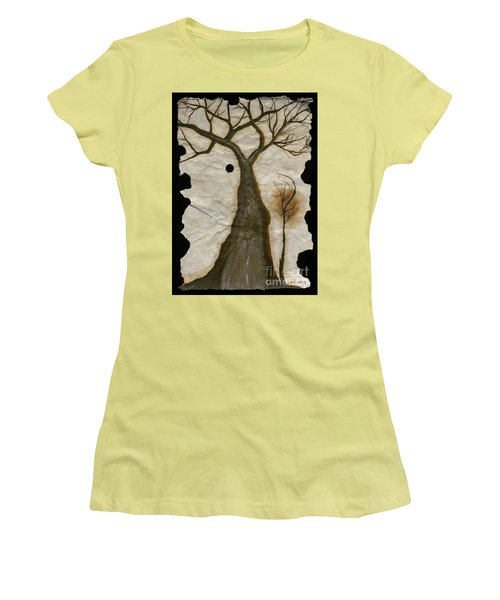 Along The Crumbling Fork In The Road Of The Tree Of Life Acfrtl Women's T-Shirt (Junior Cut) by Talisa Hartley