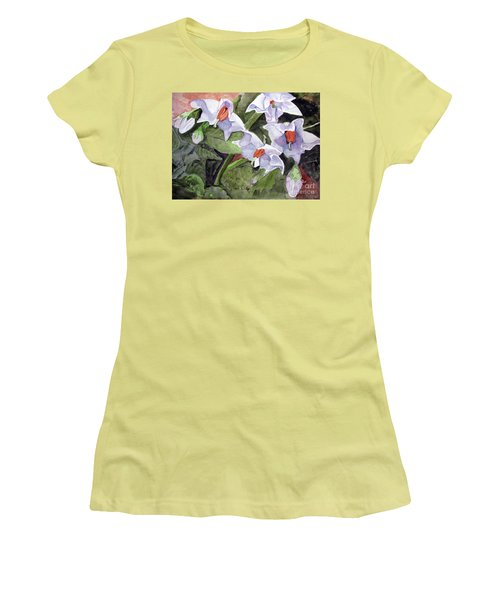 Amanda's Blue Potato Flowers Women's T-Shirt (Junior Cut) by Sandy McIntire