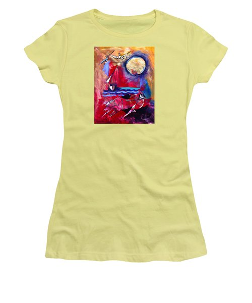 Ameeba 34-horse And Sailboat Women's T-Shirt (Athletic Fit)