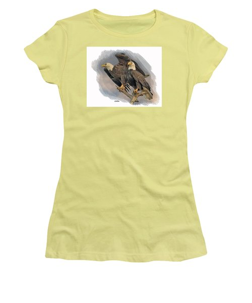 American Bald Eagle Pair Women's T-Shirt (Athletic Fit)